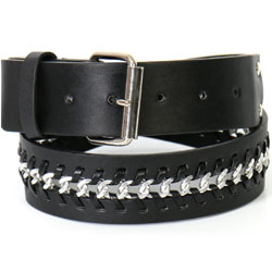 Hot Leathers Chain Weave Black Belt