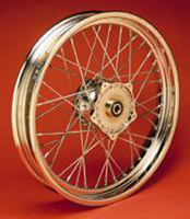 Chrome 40 Spoke Front Wheel, 21 x 1.85
