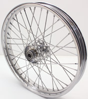 V-Twin Manufacturing Replica 40 Spoke Star Hub Chrome Front Wheel, 21 x 2.15