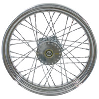 V-Twin Manufacturing Chrome Twisted Spoke Front Wheel, 19 x 2.50