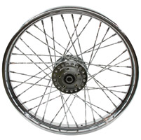 Chrome Twisted Spoke Front Wheel, 21 x 2.15