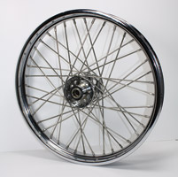 V-Twin Manufacturing Replica 40 Spoke Star Hub Stainless Front Wheel, 21 x 2.15