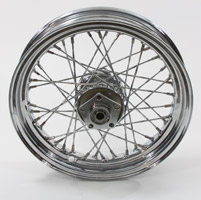 V-Twin Manufacturing Chrome Twisted Spoke Front Wheel, 16 x 3.00