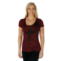Liberty Wear Women's Jeweled Cross Burgundy T-Shirt