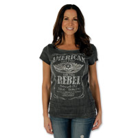 Liberty Wear Women's American Rebel Vintage Charcoal T-Shirt