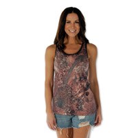 Liberty Wear Women's Guitar and Wings Racerback Burnout Tank Top