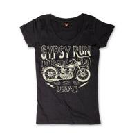 Lucky-13 Women's Gypsy Run Black Scoop Neck T-Shirt