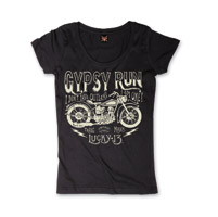 Lucky-13 Women's Gypsy Run Black Scoop Neck T-Shirt