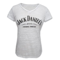 Jack Daniel's Women's Burnout White V-Neck T-Shirt