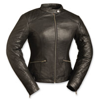 First Manufacturing Co. Women's Diamond Black Leather Jacket