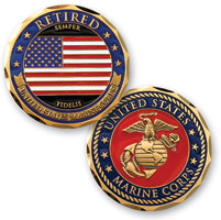 MotorDog69 Retired Marine Flag Challenge Coin