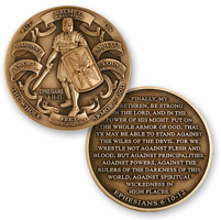 MotorDog69 Armor Of God Brass Challenge Coin