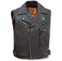 First Manufacturing Co. Men's Reckless Outlaw Black Leather Vest