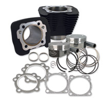 S&S Cycle Wrinkle Black 1250cc Conversion Kit with Flat Top Pistons