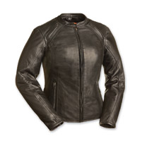 First Manufacturing Co. Women's Flamingo Black Leather Jacket