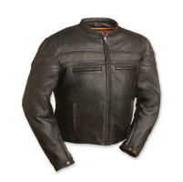 First Manufacturing Co. Men's Stakes Racer Black Leather Jacket
