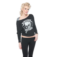 Sick Boy Women's Skull Off The Shoulder Black Long Sleeve Tee