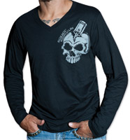 Sick Boy Men's Skull V-neck Black Long Sleeve Shirt