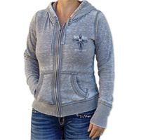 Sick Boy Women's Skull Slub Gray Zip-Up Hoodie