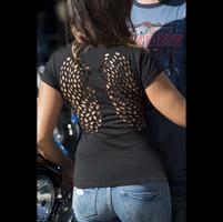 Easyriders Ladies Peek-a-Boo Laser Wings Black T-Shirt