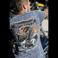 Easyriders Men's Screamin' Eagle V-Neck Indigo T-Shirt