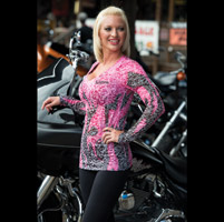 Easyriders Women's Inferno Burn Out Pink Long Sleeve Shirt