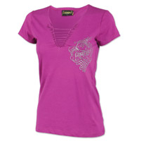Easyriders Women's Flowing Metal Braid Purple V-Neck T-Shirt