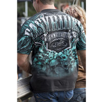Easyriders Men's AO Teal Skull Black Pocket T-Shirt