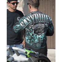 Easyriders Men's AO Teal Skull Black Pocket Long-Sleeve T-Shirt