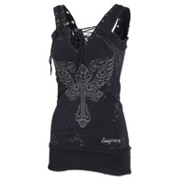Easyriders Women's Over The Top Bling Black Tank Top