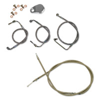 LA Choppers Stainless Cable/Brake Line Kit for Beach Bars
