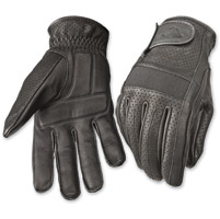 Highway 21 Men's Jab Perforated Black Leather Gloves