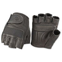 Highway 21 Mens Jab Perforated Fingerless Black Leather Gloves