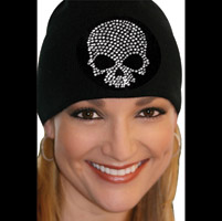 That's A Wrap Clear Skull Black Beanie