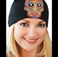 That's A Wrap Orange Candy Skulls Black Beanie