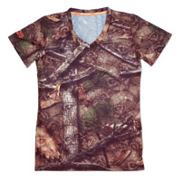 Lethal Threat Women's Backwoods Skull Camo V-Neck T-Shirt
