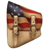 LaRosa Design Tan Solo Saddlebag with USA Flag