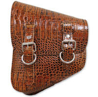 LaRosa Design Left Side Brown Alligator Swingarm Bag with Tools