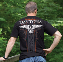 J&P Cycles® Daytona Winged Stripe Black T-Shirt