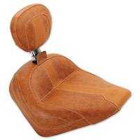 Mustang Brown Vinyl Vintage Solo Seat with Driver Backrest