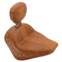 Mustang Brown Vinyl Studded Solo Seat with Driver Backrest