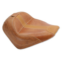 Mustang Brown Vinyl/Leather Insert Vintage Solo Seat with Driver Backrest