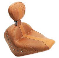 Mustang Brown Vinyl/Leather Insert Studded Solo Seat with Driver Backrest