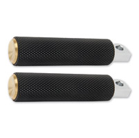 Arlen Ness Black/Brass Knurled Rubber Footpegs