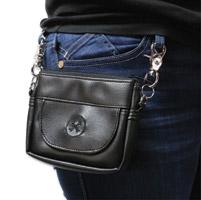 Bone Mountain Motor Gear Hipster Black Leather Bag w/Black Logo