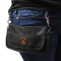 Bone Mountain Motor Gear Hipster II Black Leather Bag w/Orange Logo