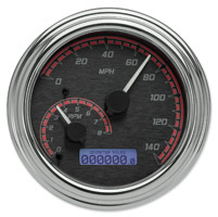 Dakota Digital Black/Red MVX-2002 Series Analog Gauge System with Chrome Bezel