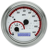 Dakota Digital White/Red MVX-2002 Series Analog Gauge System with Chrome Bezel