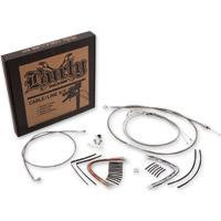 Burly Brand Braided Stainless 14″ Ape Hanger Cable/Brake/Wiring Kit w/ ABS