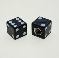 J&P Cycles® Custom Black Dice Valve Caps